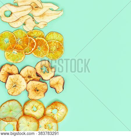 Dry Slice Fruits Apple, Tangerine, Persimmon, Pear. Tasty Dehydrated Mix Fruit Chips. Trendy Food Fo