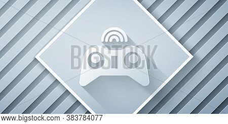 Paper Cut Wireless Gamepad Icon Isolated On Grey Background. Game Controller. Paper Art Style. Vecto