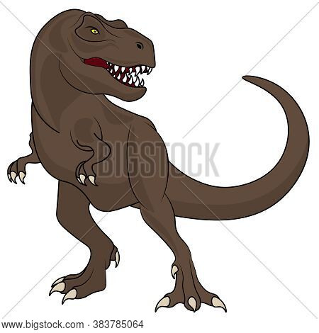 Tyrannosaurus Dinosaur. Vector Illustration On The Theme Of Archaeology And Dinosaurs On A White Iso