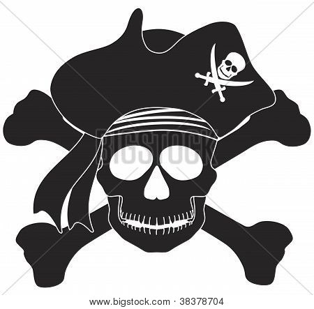 Pirate Skull Black White Illustration