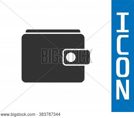 Grey Wallet Icon Isolated On White Background. Purse Icon. Cash Savings Symbol. Vector Illustration