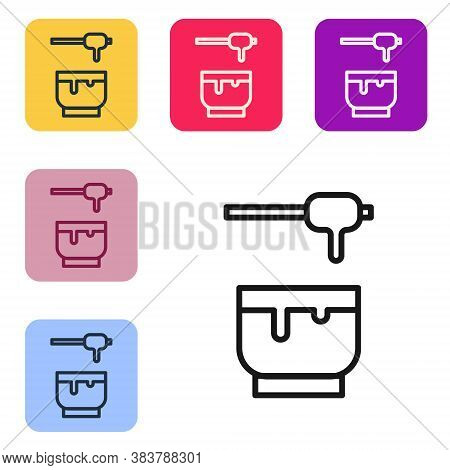 Black Line Honey Dipper Stick And Bowl Icon Isolated On White Background. Honey Ladle. Set Icons In