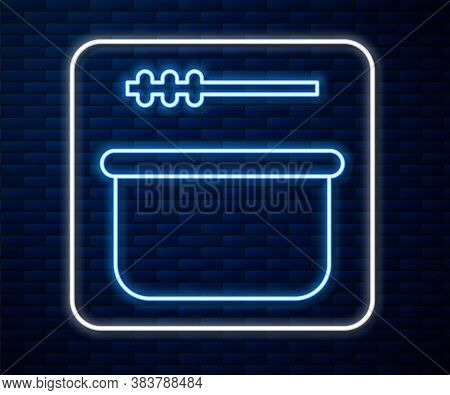 Glowing Neon Line Sauna Bucket And Ladle Icon Isolated On Brick Wall Background. Vector Illustration