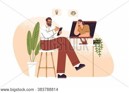 Male Psychologist Consulting Female Patient Online Vector Flat Illustration. Psychoanalyst Sitting I