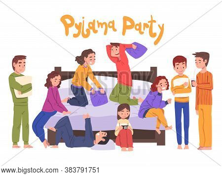 Cute Children Having Fun On Slumber Party, Boys And Girls Sitting On Bed Wearing Pajamas Cartoon Sty