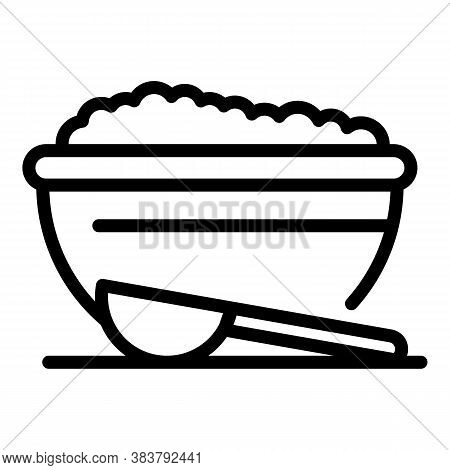Homemade Food Rice Bowl Icon. Outline Homemade Food Rice Bowl Vector Icon For Web Design Isolated On