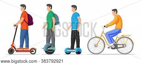 Set Of Urban Transport For Leisure. Kick Scooter, Hoverboard, Monocycle, Gyroscooter And Bicycle. Ec