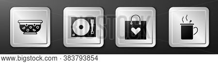 Set Mixed Punch In Bowl, Vinyl Player With A Vinyl Disk, Shopping Bag With Heart And Mulled Wine Ico