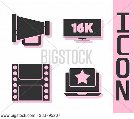 Set Laptop With Star, Megaphone, Play Video And Screen Tv With 16k Icon. Vector