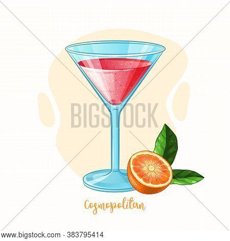 Vector Cosmopolitan Cocktail Glass With Orange. Alcohol Drink Illustration