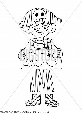 Pirate Boy Holding A Treasure Map Vector Coloring Page. Funny Cartoon Character Little Boy In Pirate