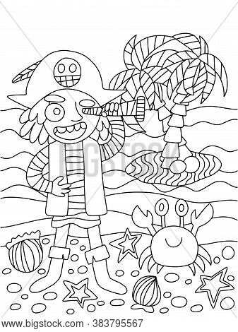 Young Pirate Vector Coloring Page. Pirate With Tricorn Hat And Spyglass Is On Coast With Crab Sees O