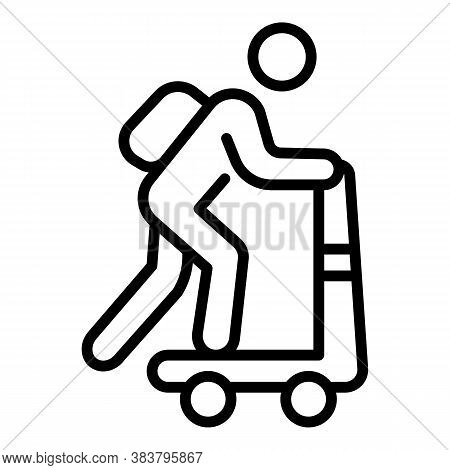 Scooter Home Delivery Icon. Outline Scooter Home Delivery Vector Icon For Web Design Isolated On Whi