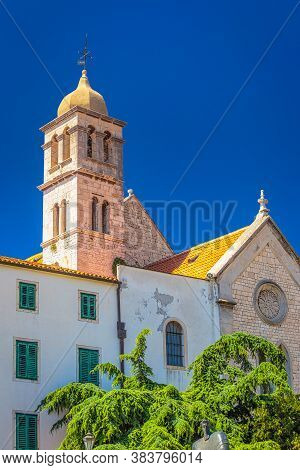 Franciscan Monastery With The Bell Tower In Sibenik. A Historic Town On The Dalmatian Coast Of Adria