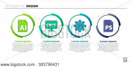 Set Ai File Document, Speech Bubble With Text Cmyk, Globe Of The Earth And Gear And Ps File Document