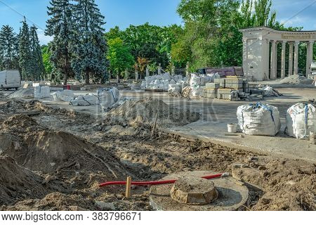 Road Repair Works On Shevchenko Square In Dnipro (ukraine). Dug Ground, Concrete Base, Heaps Of Buil