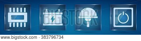 Set Processor With Microcircuits Cpu, Car Battery, Light Emitting Diode And Electric Light Switch. S