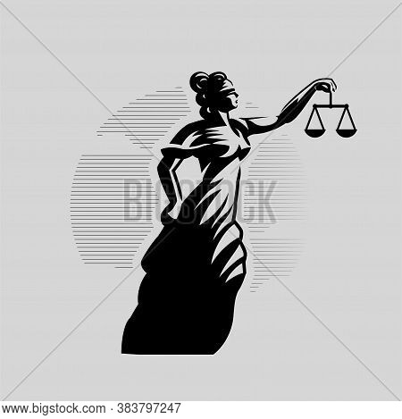 Woman With A Blindfold. Themis With Scales In Outstretched Hand. Justice.