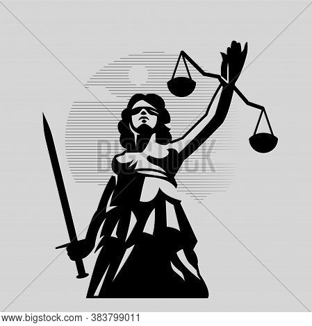 Goddess Of Justice Themis. A Woman In A Tunic Blindfolded With A Sword In One Hand And Scales In The