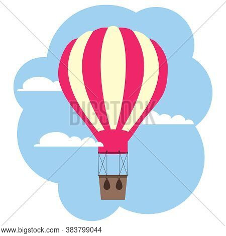 Hot Air Balloon, Red Hot Air Balloon On A Background Of Sky And Clouds. Vector, Cartoon Illustration