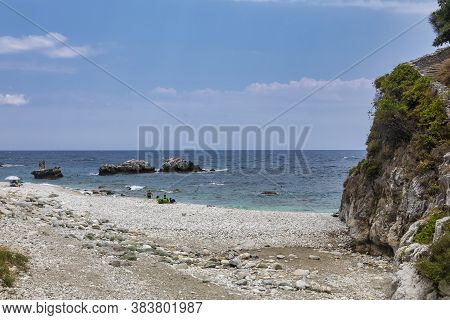 Picturesque Damouchari Beach At Pelion In Greece.