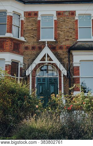 London, Uk - August 20, 2020: Facade Of A Traditional Terraced House In Crouch End, An Area In North