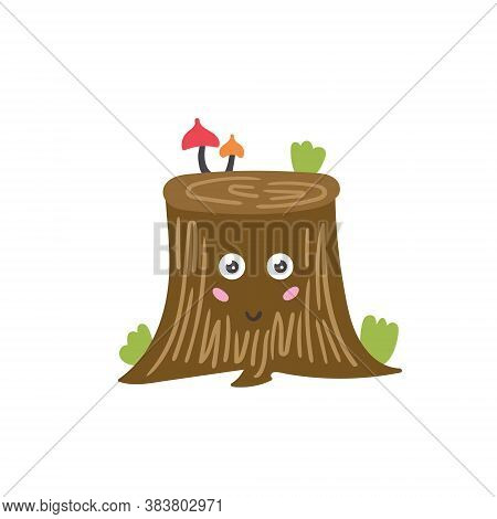 Cartoon Vector Character Tree Stump Forest Element