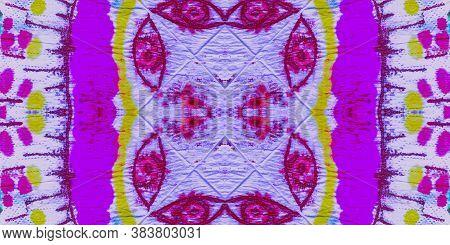 Psychedelic Batik. Seamless Swimwear Textile. Rainbow Organic Textile. Tie And Dye Texture. Multicol