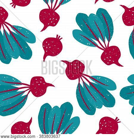 Vector Seamless Pattern With Bright Colorful Healthy Beetroots