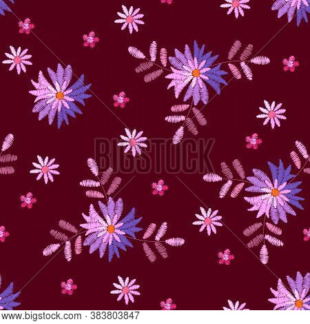 Embroidery Seamless Pattern With Fantasy Flowers And Leaves. Beautiful Print For Fabric And Textile.