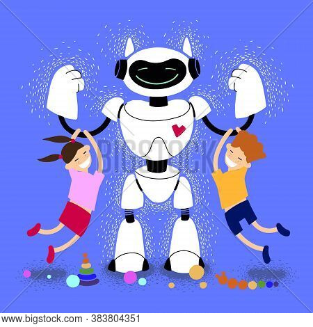 Babysitter Robot With Children Vector Illustration. Robot Nanny With Kids. Robotic Friend. Kind Robo