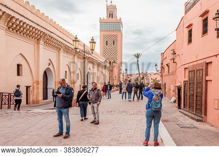 Marrakesh, Morocco - October 30, 2018: Tourists Visiting The Popular Tourist Attraction Place, The K