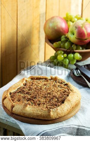 Homemade Apple Pie With Streusel And Fresh Fruit. Rustic Style.