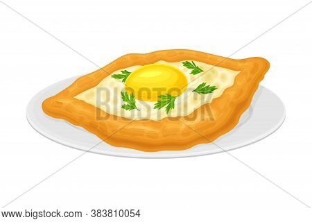 Baked Bread With Cheese And Egg Stuffing Garnished With Parsley As Georgia Country Food Vector Illus