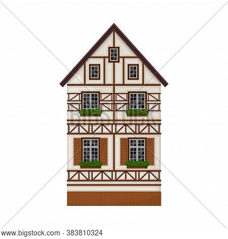Traditional German Timbered House With Windows And Flowers Vector Illustration
