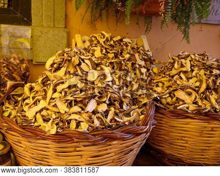 New Harvested Dried Tasty White Porcini Boletus Mushrooms In Shop, Nemi, Castelli Romani, Italy