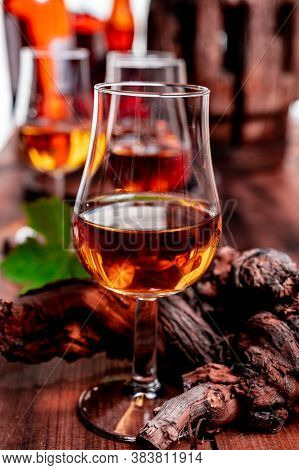 Tasting Of Aged French Cognac Brandy In Old Cellars Of Cognac-producing Regions Champagne Or Bois, F