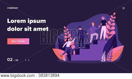 Happy Young Employees Giving Support And Help Each Other Flat Vector Illustration. Business Team Wor