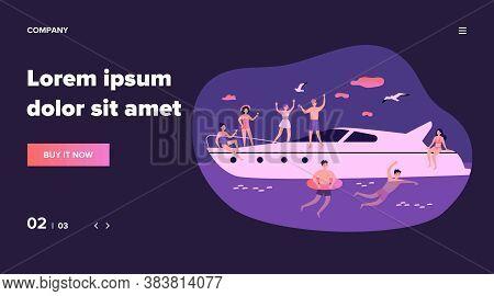 Happy Young People Enjoying Yacht Cruise. Men And Women Sailing, Enjoying Party On Luxury Boat, Swim