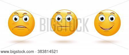 Emoticon With Various Facial Expressions. Smile Icons Set. Sad, Indifferent And Cheerful Emoji Colle
