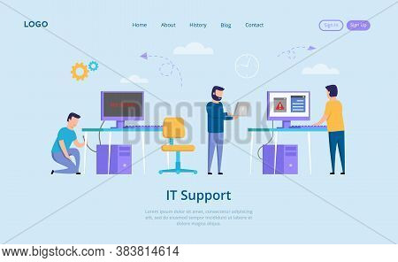 It Support Concept. No Signal Message On The Screen, Annoyed People And Unplugged Computer. It Suppo