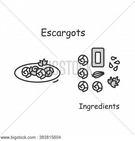 Escargot Recipe Icon. Traditional French Gourmet Food Serving With Garlic Butter Linear Pictogram. C