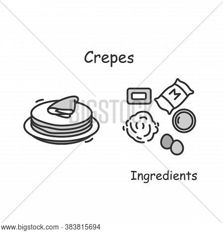 Crepes Icon. Traditional French Pancakes Serving And Ingredients Line Pictogram. Concept Of European