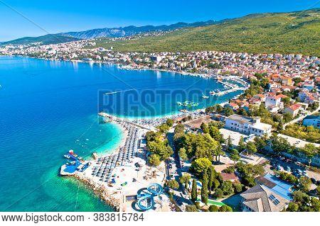 Selce And Poli Mora Turquoise Beach Aerial View, Crikvenica Riviera In Croatia