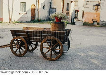 Wooden Old-fashioned Cart, Decorative Retro Wagon In The Yard, Vintage Stand For Flowers, Garden Dec