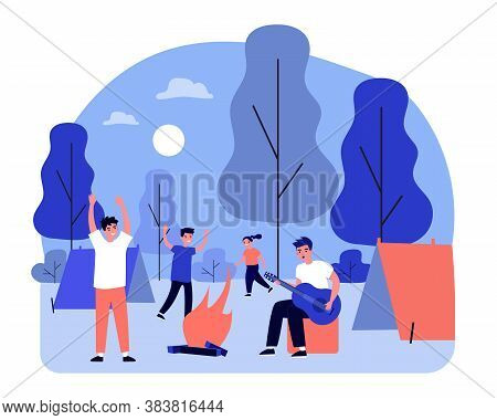 Happy Young People Enjoying Camping. Guy Playing Guitar, Students, Teenagers Flat Vector Illustratio