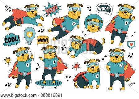Hand-drawn Dog In Superman Costume In Different Poses. Set Of Cute Superhero Character For Decoratio