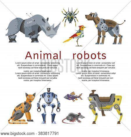Animal Robots Inscription, Mechanical Toy, Future Technologies, Design Cartoon Style Vector Illustra