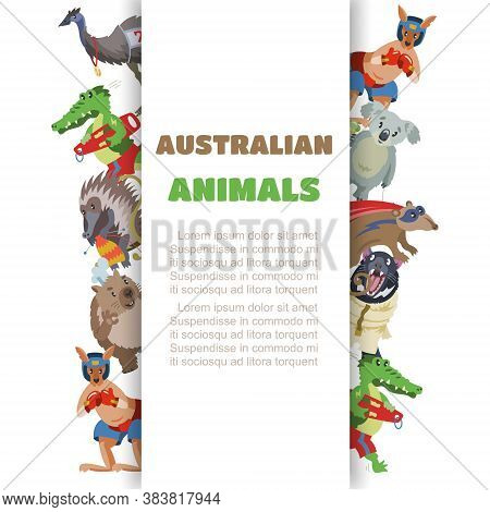 Inscription Australian Animals, Collection Pictures, Variety Mammal, Design Cartoon Style Vector Ill