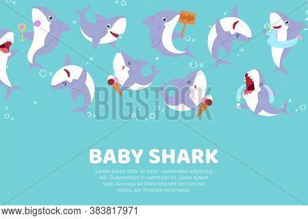 Inscription Baby Shark, Cute Banner, Nature Ocean, Sea Water Poster With Predatory Fish, Design Cart